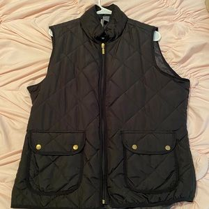 Black Puffer Vest w Gold Detail
